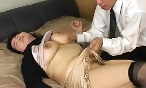Kinky japanese older licks her paramour all over his body