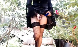 Outdoors sissy Ladyboy dick shaking it