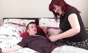 Mature mother seduces youthful lad