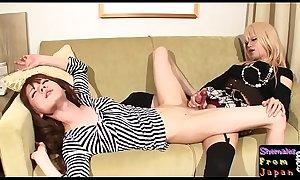 Asian shemales enjoy lesbian twosome