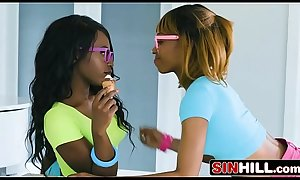 White Stepdad vs Ebony Stepdaughter and Her BFF - Azaelia, Noemie Bilas