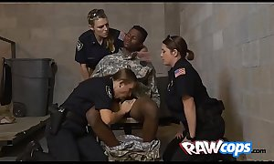 Raw MILF officers foursome with a conviced marine