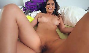 Lubricious latina with bubbly Bristols pleasuring her sexy boyfriend
