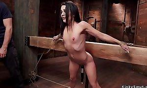 Submissive spinner takes rough bondage