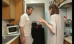 Brother and sister blow job in the kitchen